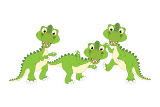 Print on Demand: Cute Dinosaur Animal Cartoon Graphic Illustrations By curutdesign