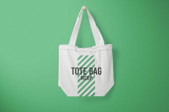 Front View Hanging Tote Bag Mockup Graphic