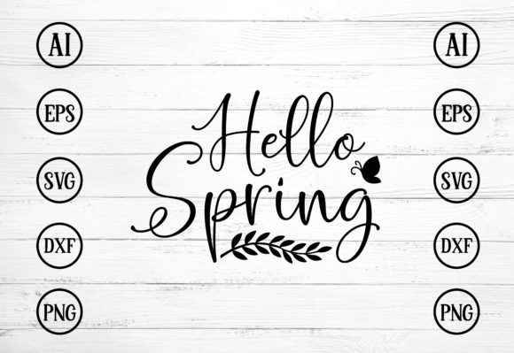 Hello Spring Design SVG Graphic