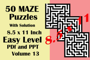 50 Maze Easy Level 8.5x11 PDF PPTX V 13 Graphic KDP Interiors By Seven Elephant