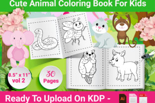 Print on Demand: Animal Coloring Book for Kids - Vol 2 Graphic KDP Interiors By Creative Designer