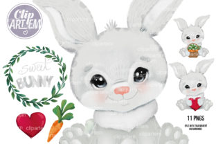 Print on Demand: Baby Bunny Rabbit Bundle 11 PNG Images Graphic Illustrations By clipArtem