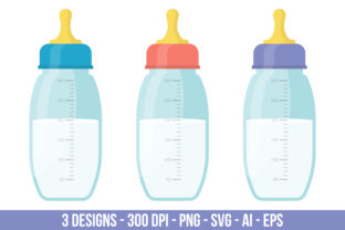 Baby Milk Bottle Clipart Set Graphic Illustrations By Creativeclipcloud