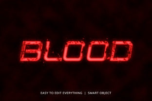 Print on Demand: Blood 3d Flowing Blood Style Text Effect Graphic Layer Styles By grgroup03
