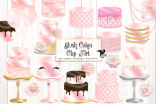 Print on Demand: Blush Pink Cakes Clipart Graphic Illustrations By Digital Curio