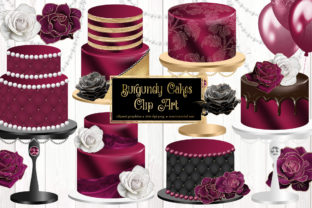Print on Demand: Burgundy Cakes Clipart Graphic Illustrations By Digital Curio