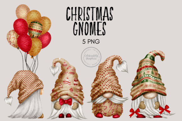 Print on Demand: Christmas Festive Gnome Clipart Graphic Illustrations By Celebrately Graphics