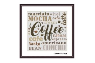Print on Demand: Coffee Kitchen Word Cross Stitch Pattern Graphic Cross Stitch Patterns By Tango Stitch