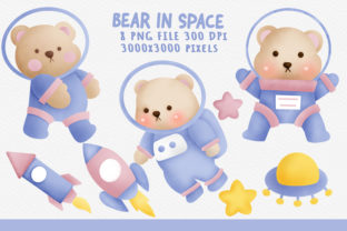 Cute Bear in Space Png Clipart Graphic Illustrations By nattapohncha