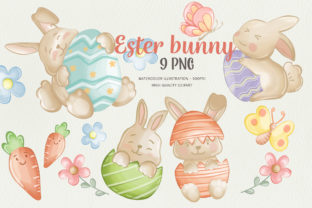 Easter Bunny Watercolor Clipart Bundle Graphic Illustrations By Apixsala