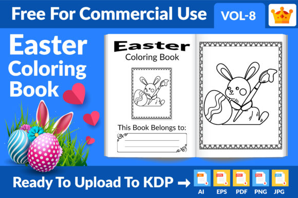 Easter Coloring Book KDP Interior Vol 8 Graphic KDP Interiors By Md Abu Saeid