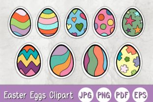 Print on Demand: Easter Eggs 01 C Clipart Sticker Graphic Illustrations By 18CC