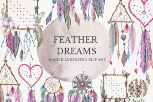 Print on Demand: Feather Dreams Dreamcatcher Clipart Set Grafik Illustrationen von Jessaox