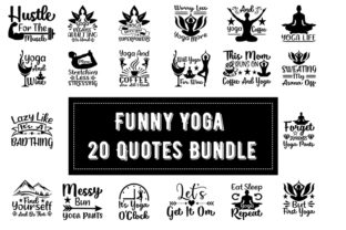 Print on Demand: Funny Yoga  20 Quotes Bundle Graphic Print Templates By Design_store
