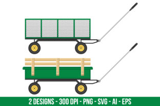 Green Garden Cart Clipart Set Graphic Illustrations By Creativeclipcloud