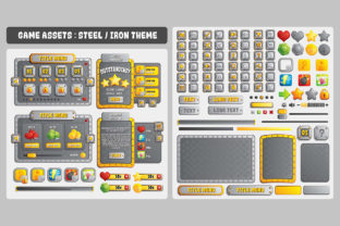 Iron Steel Game UI Assets Graphic UX and UI Kits By SCWorkspace