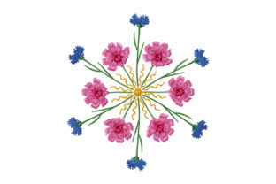 Print on Demand: Kaleidoscope from Cornflower and Cosmos Bouquets & Blumensträuße Stickdesign von EmbArt