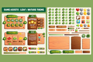 Leaf Nature Game UI Assets Graphic UX and UI Kits By SCWorkspace