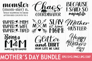 Print on Demand: Mother's Day Bundle SVG - 10 DESIGNS Graphic Crafts By inlovewithkats