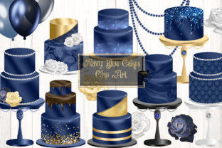Print on Demand: Navy Blue Cakes Clipart Graphic Illustrations By Digital Curio