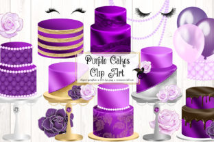 Print on Demand: Purple Cakes Clipart Graphic Illustrations By Digital Curio