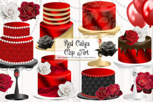 Print on Demand: Red Cakes Clipart Graphic Illustrations By Digital Curio