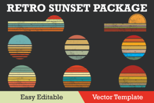 Print on Demand: Retro Sunset Collection Grunge Vector Graphic Illustrations By ohesdesign