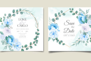 Soft Blue and White Wedding Card Graphic Print Templates By dinomikael01