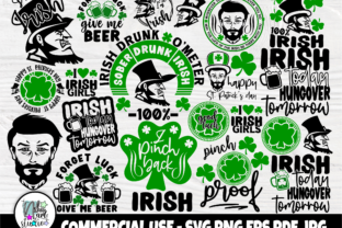 Print on Demand: St Patricks SVG Bundle, Irish Gifts Men Graphic Crafts By nibaartstudio