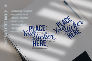 Print on Demand: Sticker Shape or Text Effects Mockup Graphic Product Mockups By z.zajka