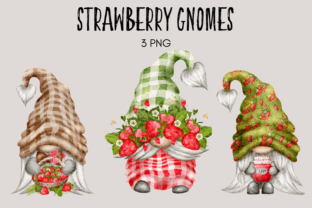 Print on Demand: Strawberry Gnomes Watercolor Clipart Graphic Illustrations By Celebrately Graphics
