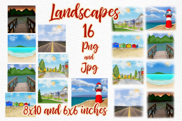 Print on Demand: Summer Landscapes  Beach Landscapes Graphic Illustrations By LeCoqDesign