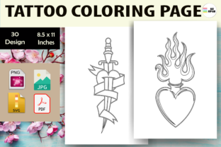 Print on Demand: Tattoo Coloring Page 2 - KDP Graphic Coloring Pages & Books Kids By Sei Ripan