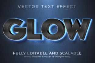 Print on Demand: Text Effect Glow Blue Neon Text Style Graphic Layer Styles By NA Creative
