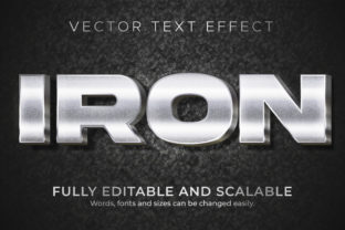 Print on Demand: Text Effect Metallic Iron Text Style Graphic Layer Styles By NA Creative
