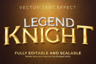 Print on Demand: Text Effect Metallic Knight Text Style Graphic Layer Styles By NA Creative