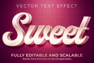 Print on Demand: Text Effect Sweet Pink Text Style Grafik Layer-Stile von NA Creative