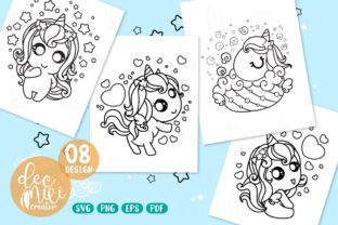 Print on Demand: Unicorn Black-white : Set No.04 Graphic Coloring Pages & Books Kids By decnui.creator