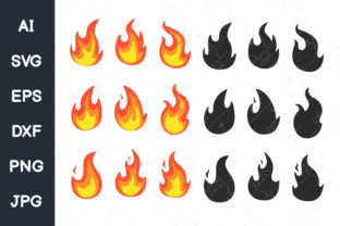 Print on Demand: Vector Collection of Flame Graphic Illustrations By CRStocker