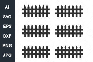 Print on Demand: Vector Fence Silhouette, Wooden Fence Graphic Illustrations By CRStocker