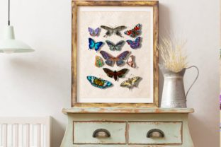 Vintage Butterfly Poster Printable Graphic Illustrations By Marine Universe