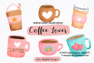 Print on Demand: Watercolor Coffee Lover Clipart Bundle Graphic Illustrations By SineDigitalDesign