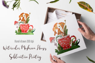 Print on Demand: Watercolor Mushroom Houses Sublimation Graphic Illustrations By ElenaZlataArt