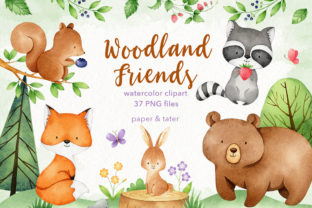 Watercolor Woodland Animals Clipart Set Graphic Illustrations By PaperAndTater