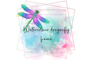 Print on Demand: Watercolour Dragonfly Frame Graphic Print Templates By RainbowDesigns