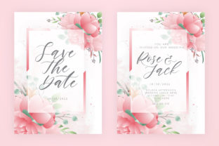 Print on Demand: Wedding Invitation Template with Florals Graphic Print Templates By Dzyneestudio