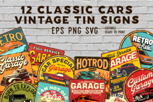 12 Classic Car Vintage Tin Signs Graphic Illustrations By rofikahmad78