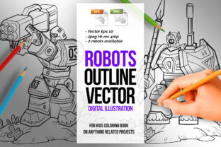 2 in 1 Robots Line Art Coloring Page Graphic Coloring Pages & Books Kids By SCWorkspace
