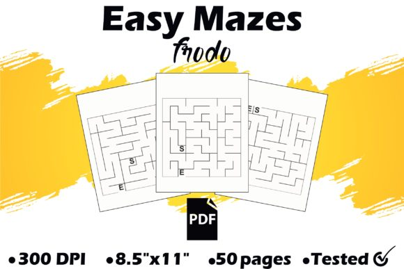 50 Easy Mazes Graphic KDP Interiors By Frodo