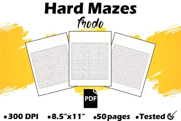 50 Hard Mazes Graphic KDP Interiors By Frodo